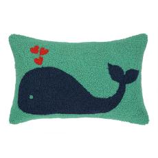 Green Whale Red Heart Hook Pillow