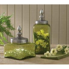 Green Glass Glass Jars