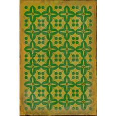 Green on Yellow Pattern Vinyl Floor Cloth