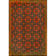 Black on Red Pattern Vinyl Floor Cloth