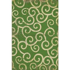 Green Swirl Pattern Vinyl Floor Cloth