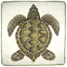 Green Turtle Needlepoint Pillow