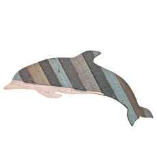 Flipper Wooden Dolphin Plaque Grey