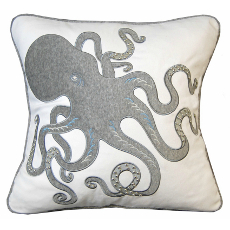 Inkling Octopus Applique Pillow-Grey