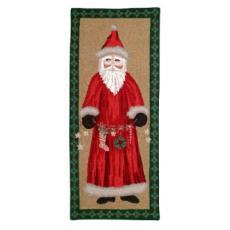 Santa With Garland Holiday Rug
