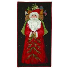 Santa With Gifts Wool Holiday Rug