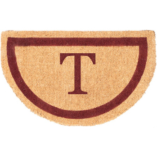 Single Bordered Half Round Monogram Coco Doormat