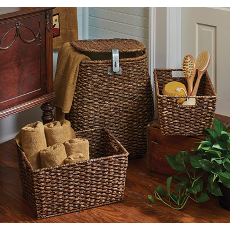 Hamper and 2 Storage Baskets Set of 3