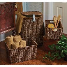 Hamper and 2 Storage Baskets Set of 3