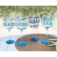 Hand Painted By the Sea Sayings Wine Glass S/4