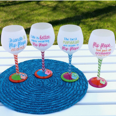 Hand Painted Flip Flop Sayings Wine Glass S/4