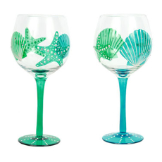 Hand-Painted Shell Wine Glass Set of 2