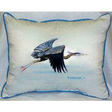 Blue Heron In Flight Indoor Outdoor Pillow