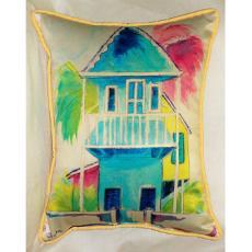 W. Palm Hut Blue  Large Pillow