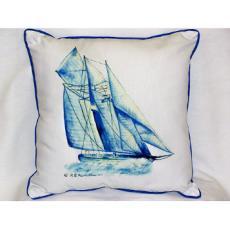 Blue Sailboat Indoor Outdoor Pillow
