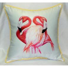 Two Flamingos Indoor Outdoor Pillow