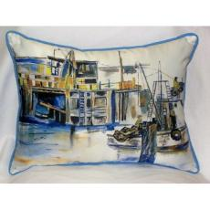 Fishing Boat Indoor Outdoor Pillow