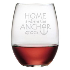 Where The Anchor Drops Etched Stemless Wine Glass Set