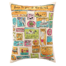 How To Live At The Beach  Printed Pillow 14 x 18""