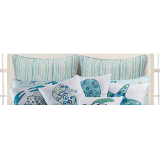 Imperial Coast Sea Turtle Stripped Euro Sham Pillow Case
