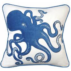 Inkling Octopus Applique Throw Pillow, Blue