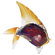 Murano Style Art Glass Firestorm Fish Figurine