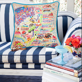 Jersey Shore Embroidered State Pillow