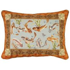 Large Koi Needlepoint Pillow