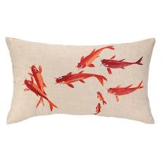 Koi Pond Embroidered Pillow