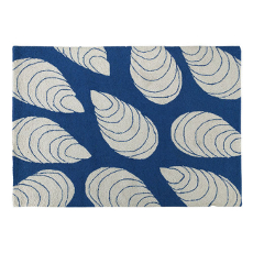 Large Mussels Navy Hook Rug