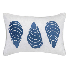 Large Mussels Navy Embroidered Pillow