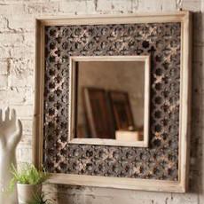 Wood Framed Lattice Work Mirror