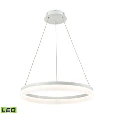 Cycloid 1 Light Led Pendant In Matte White With Acrylic Diffuser - Medium