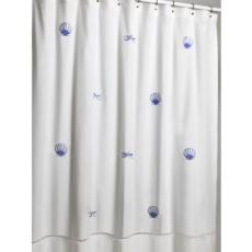 Scallop and Starfish Blue Embroidered Shower Curtain