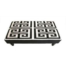 Greek Key Hook Bench  Black and White