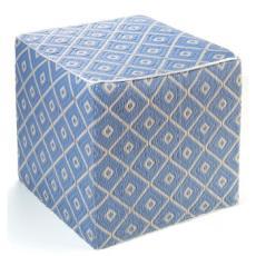 Veria - Faded Denim & White Sand Cube/Ottoman
