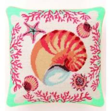 Brown Sea Shell Needlepoint Pillow
