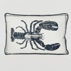 Lobster Nautical Linen Pillow With Emroidery