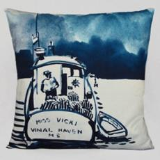 Lobsterboat II Watercolor Pillow
