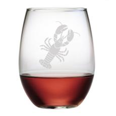 Lobster Etched Stemless Wine Glass Or Champagne Flute Set