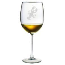 Lobster Etched Stemmed Wine Glasses (set of 4)