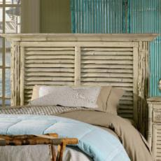 Coastal Bamboo Louvered White Headboard