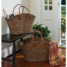Magazine Baskets with Leather Handles Set of 2