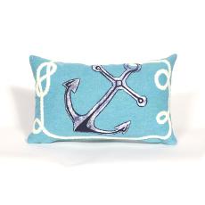 Marina Aqua Anchor Indoor Outdoor Oblong Pillow