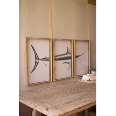 Triptych Framed Marlin Prints Under Glass