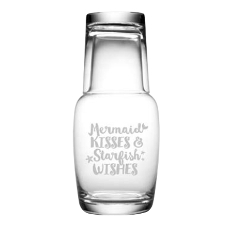 Mermaid Kisses Etched Bedside Night Bottle 2Pc Set