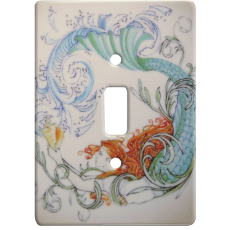 Vintage Mermaid Ceramic Single Switch Wall Plate
