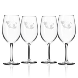Mermaid All Purpose Large Wine Glasses  Set of 4