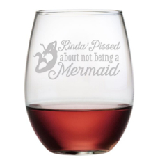 Not Being a Mermaid Stemless 21 oz Wine Glasses (Set of 4)