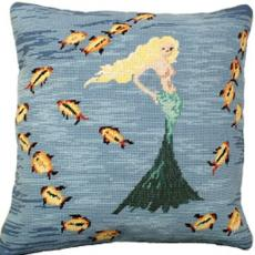 Mermaid 3 Needlepoint Pillow